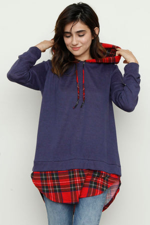 Red Plaid Layered Navy Hoodie Tunic