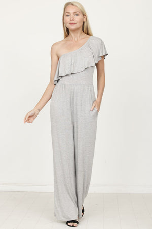 Grey One Shoulder Ruffle Jumpsuit