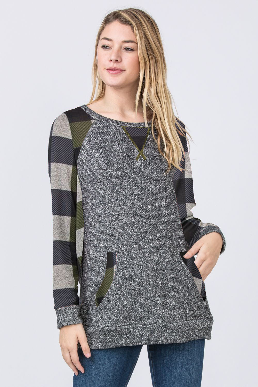 Olive Checkered Accent Raglan Sleeve Tunic with Kangaroo Pocket
