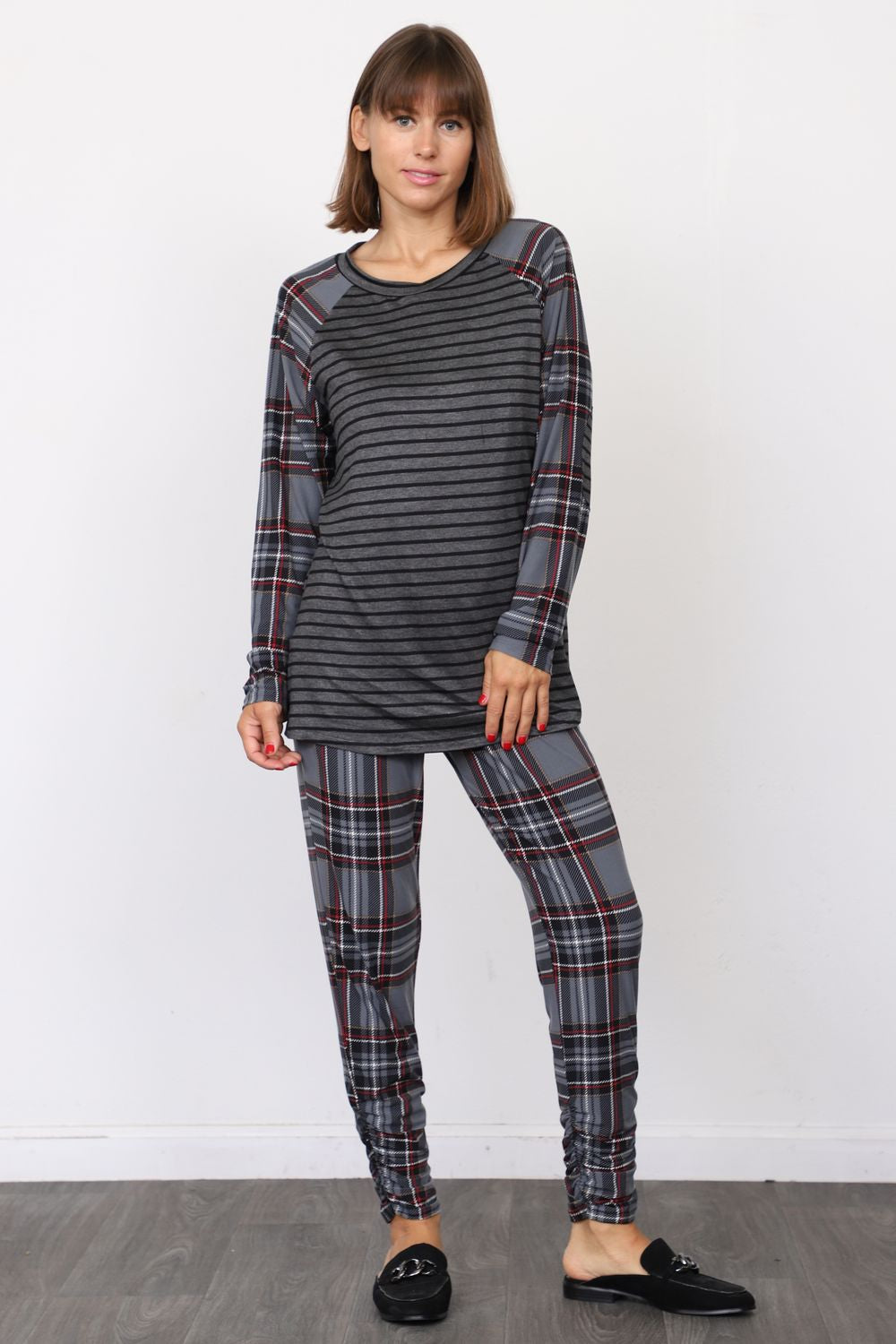 Stripe Slate Blue Plaid Top & Jogger Set
