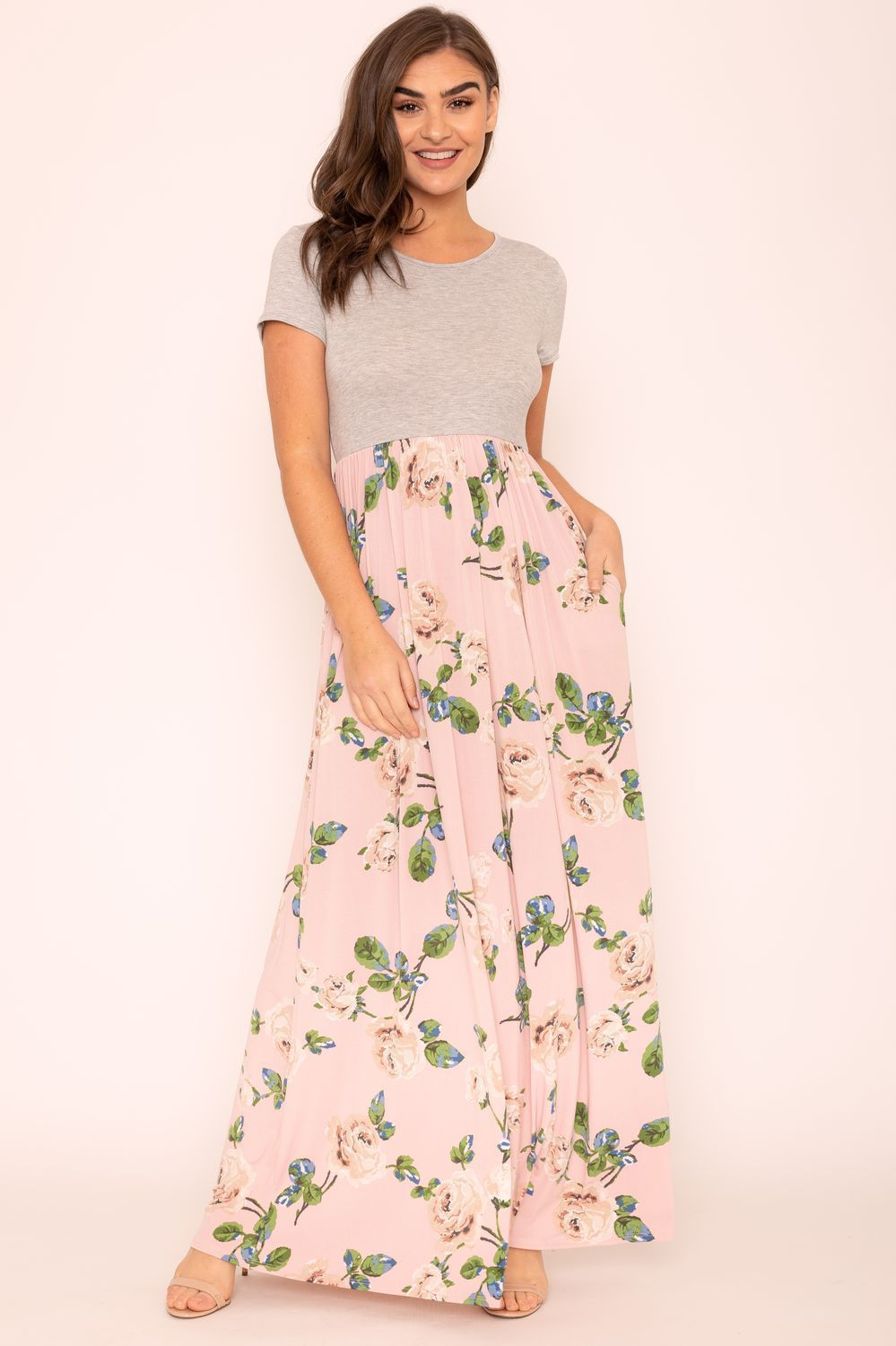 Grey Short Sleeve Pink Floral Maxi Dress_Plus