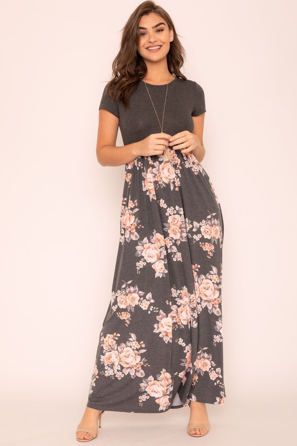 Charcoal Short Sleeve Floral Maxi Dress_Plus