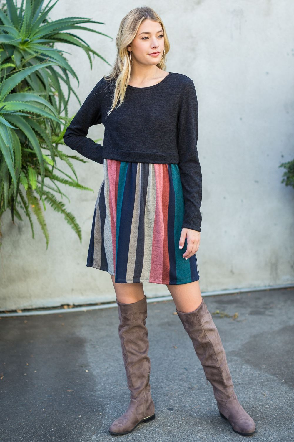 Navy Multi Color Pullover Mini Dress