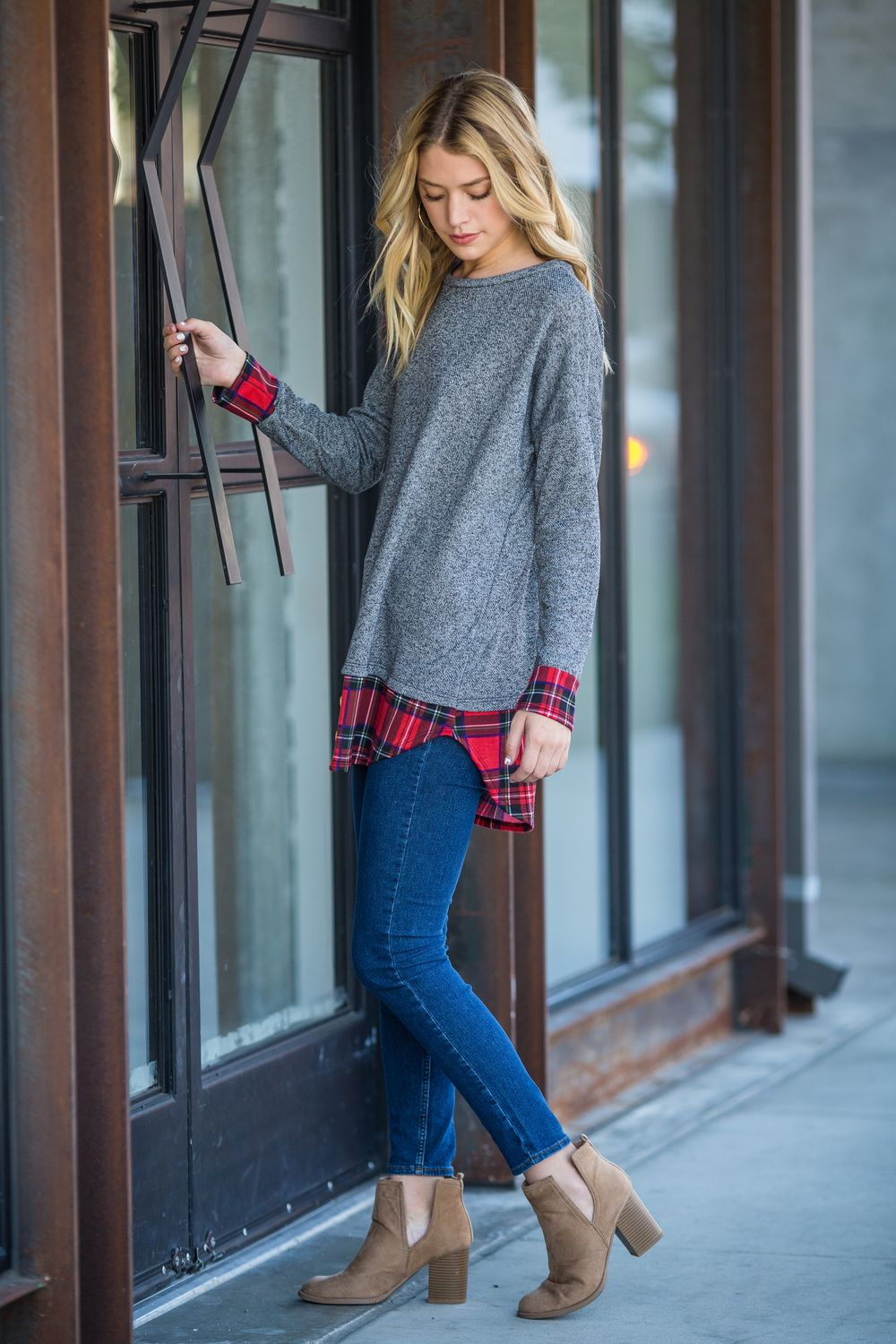 Charcoal Terry & Red Plaid Layered Tunic