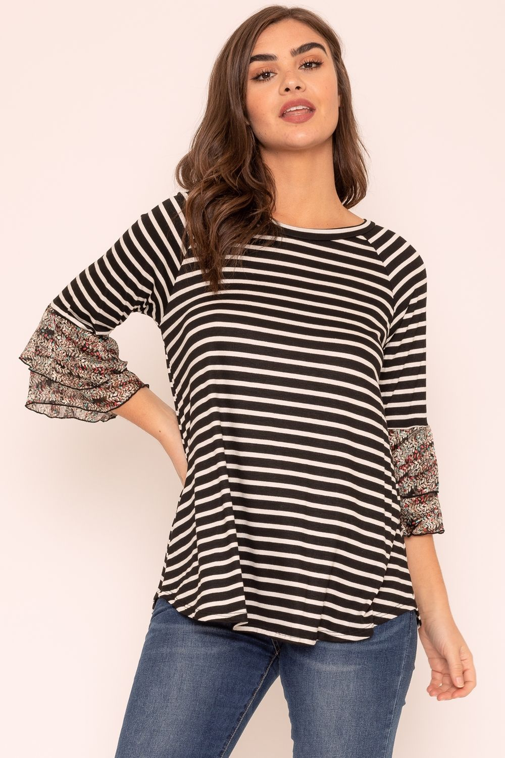 Black Stripe Double Ruffle Chiffon Sleeve Top_Plus