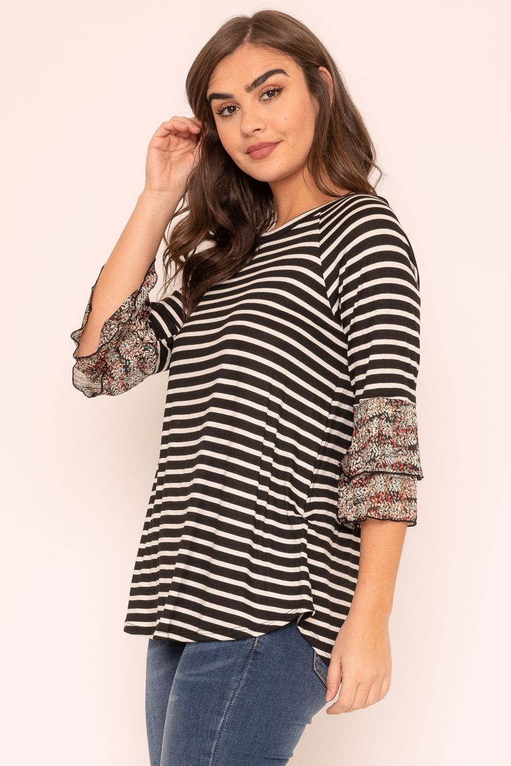 Black Stripe Double Ruffle Chiffon Sleeve Top