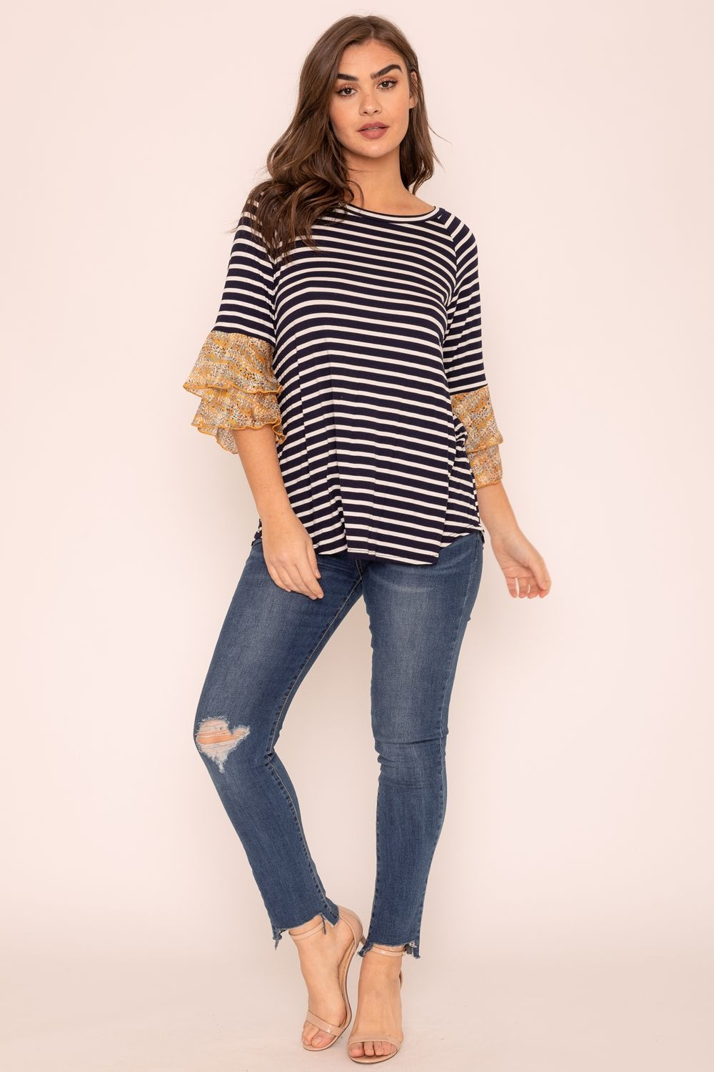 Navy Stripe Double Ruffle Chiffon Sleeve Top_Plus
