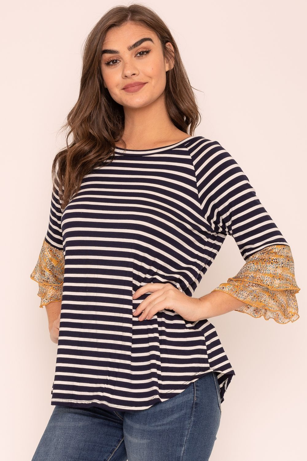 Navy Stripe Double Ruffle Chiffon Sleeve Top