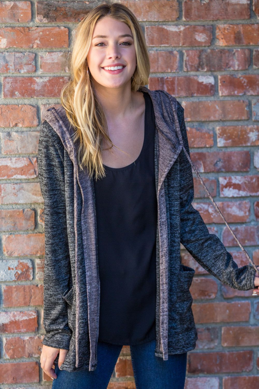 Charcoal & Coco Two Tone Hooded Cardigan