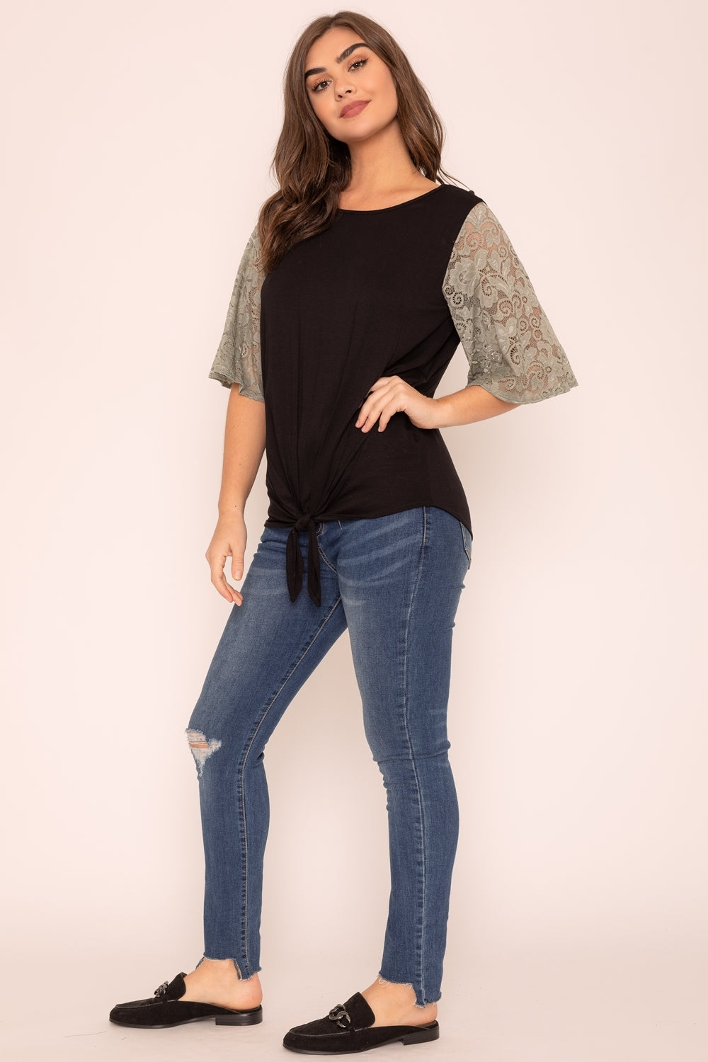 Black Tie Knot Hem Olive Lace Sleeve Top