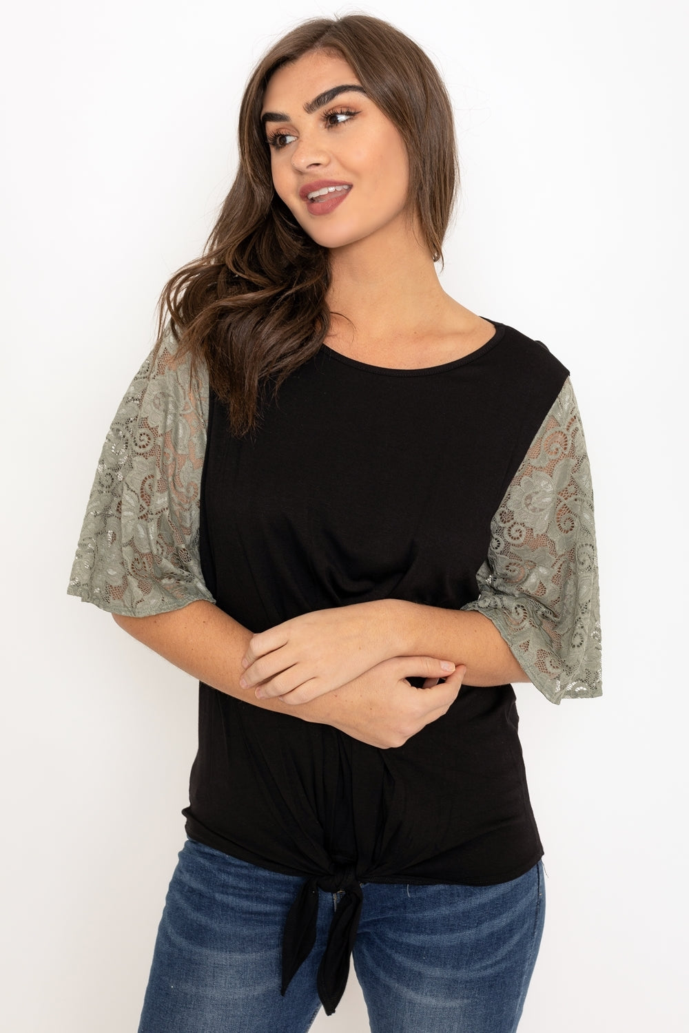 Black Tie Knot Hem Olive Lace Sleeve Top_Plus