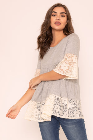 Grey Tiered White Lace Ruffle Sleeve Tunic_Plus