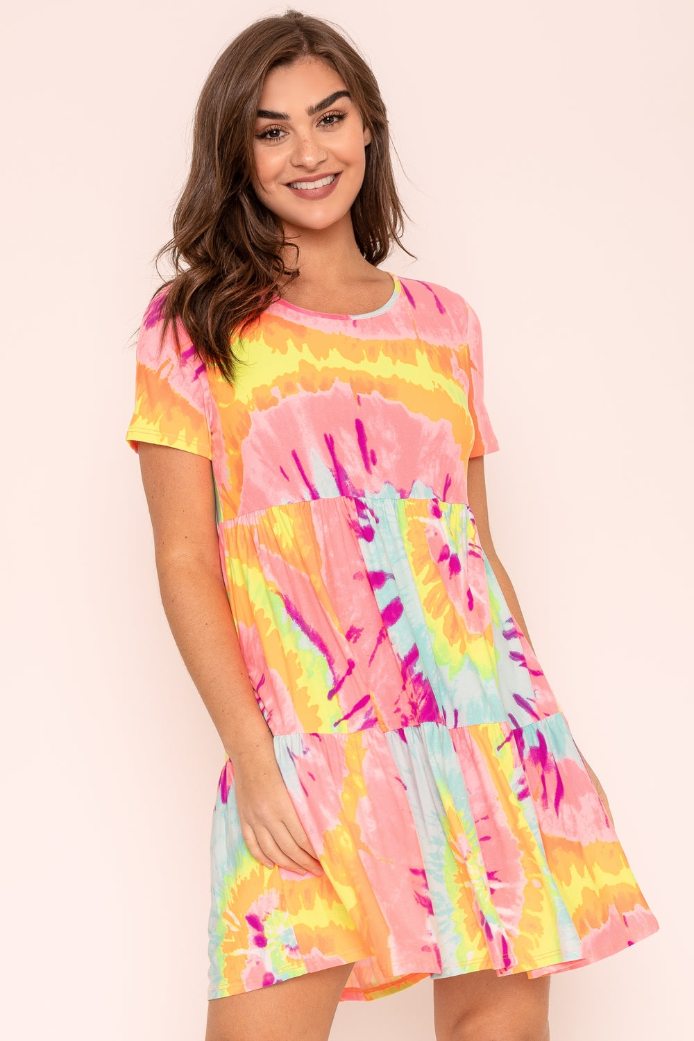 Coral Mint Swirl Tie-Dye Short Sleeve Tiered Mini Dress
