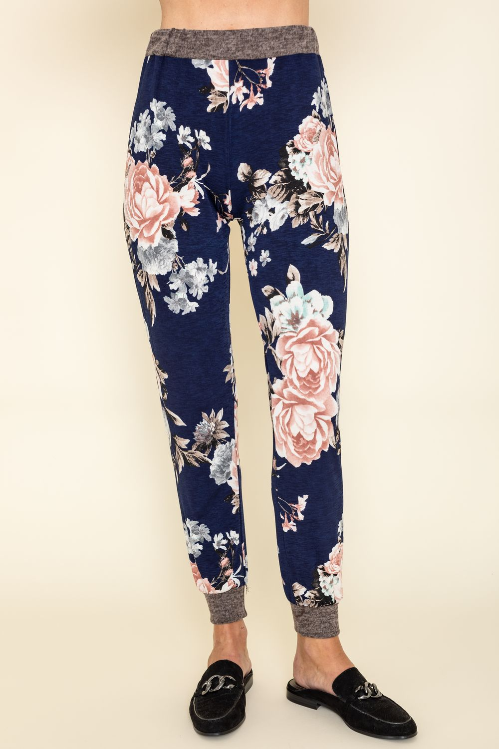Navy Floral Mocha Band Jogger Pants