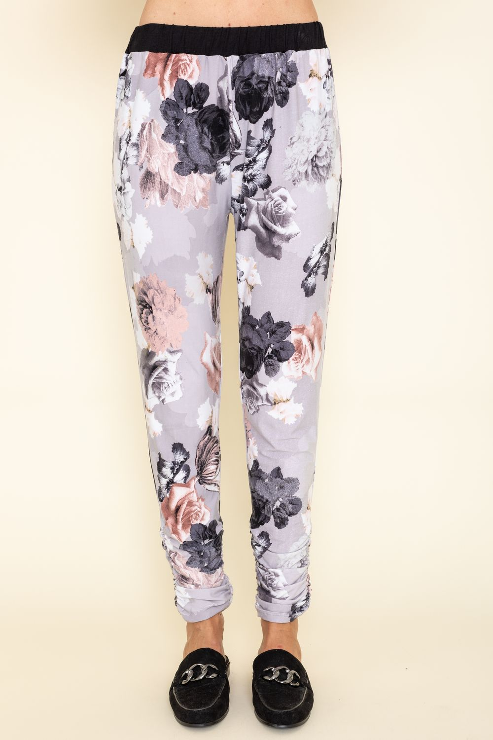 Grey Floral Side Shirring Jogger Pants