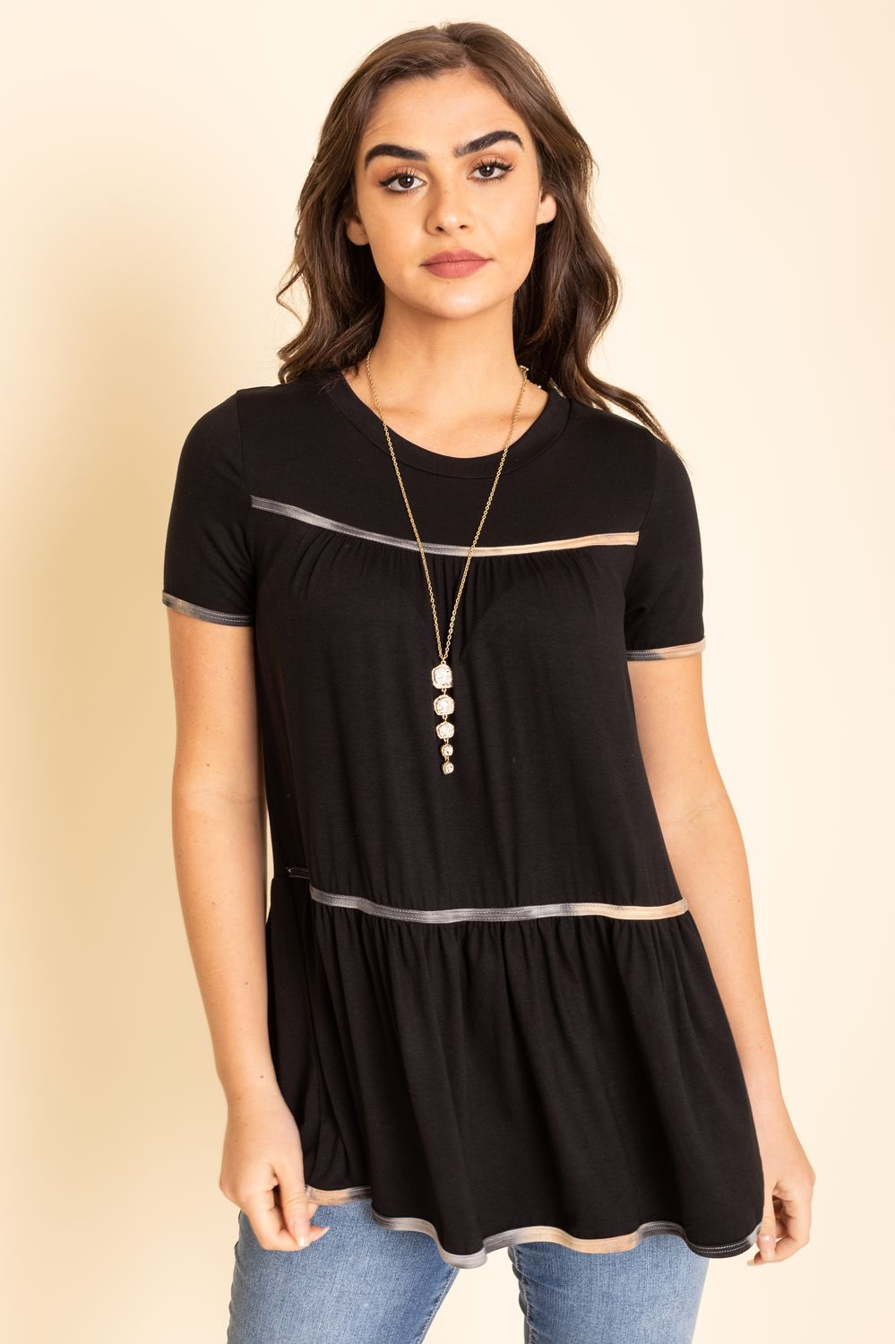 Black Tiered Tie Dye Trim Tunic