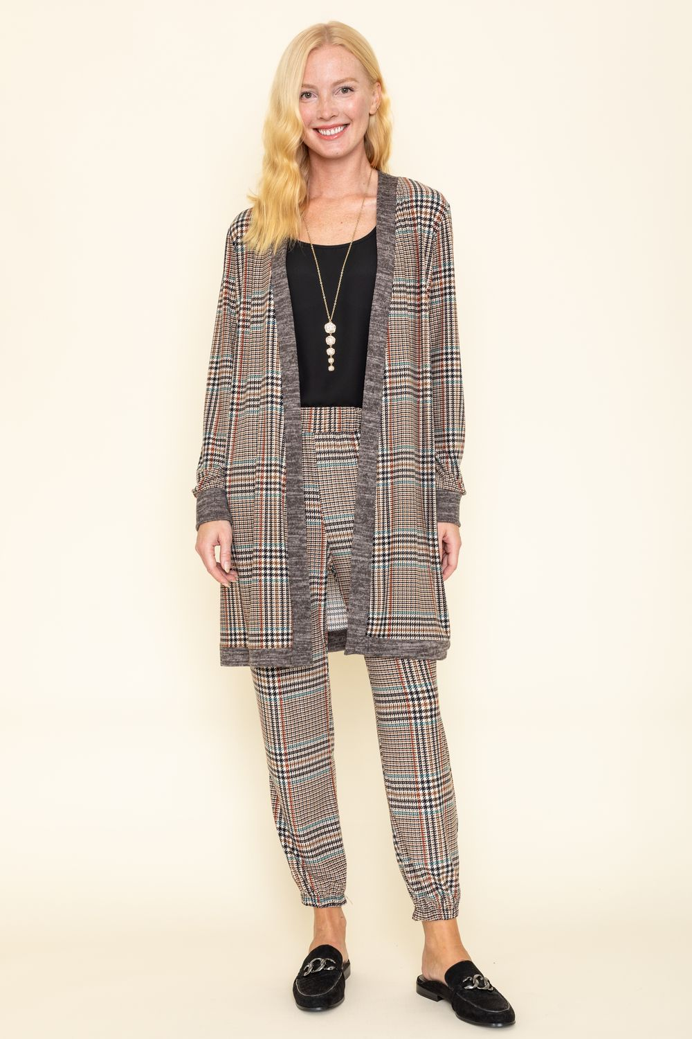 Classic Taupe Plaid Long Cardigan & Jogger Set