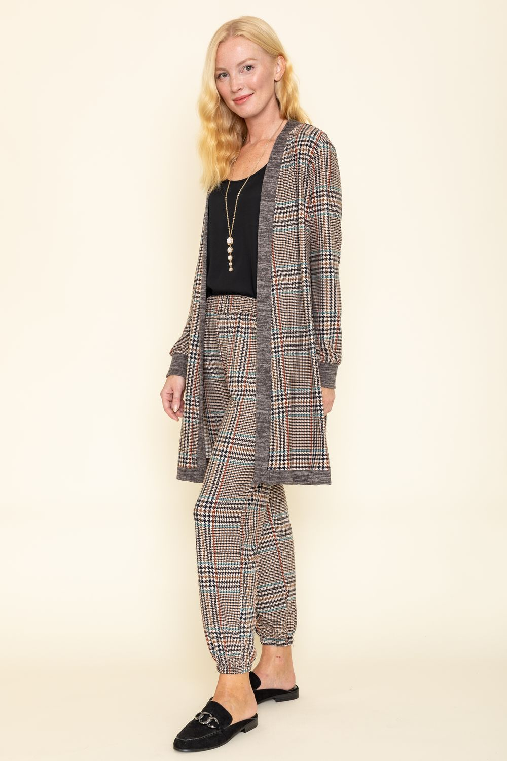 Classic Taupe Plaid Long Cardigan & Jogger Set_Plus