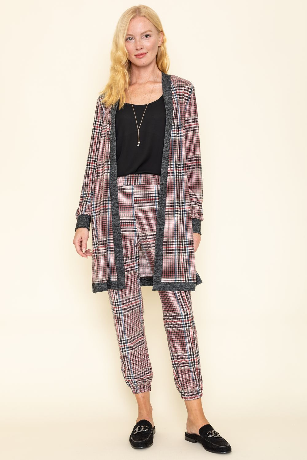 Classic Burgundy Plaid Long Cardigan & Jogger Set