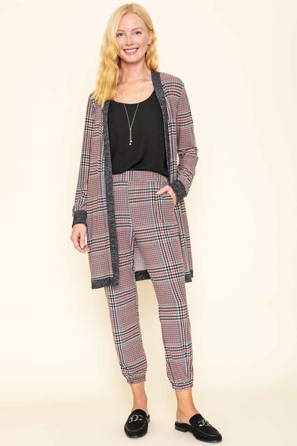 Classic Burgundy Plaid Long Cardigan & Jogger Set_Plus