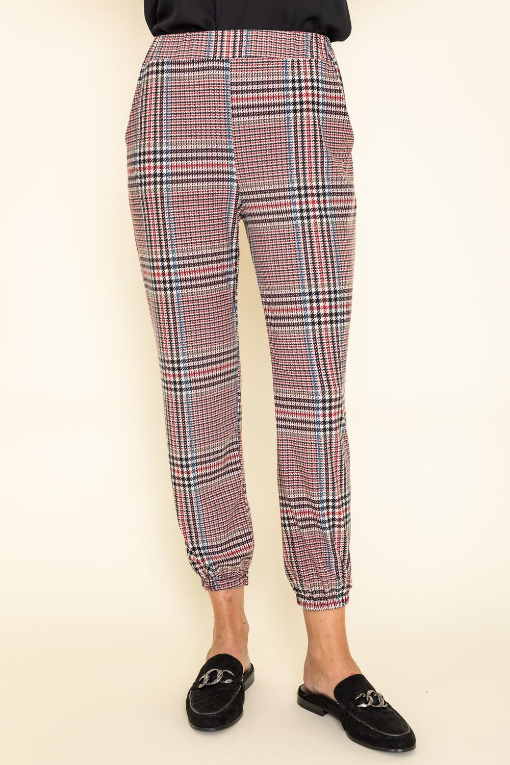 Classic Burgundy Plaid Jogger Pants