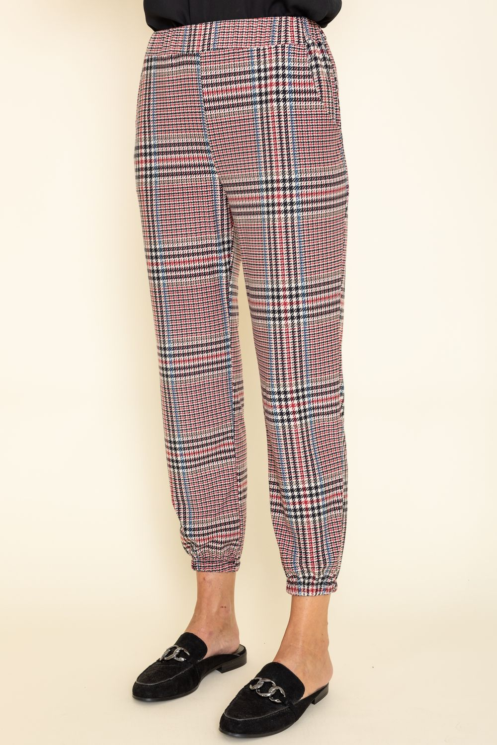 Classic Burgundy Plaid Jogger Pants_Plus