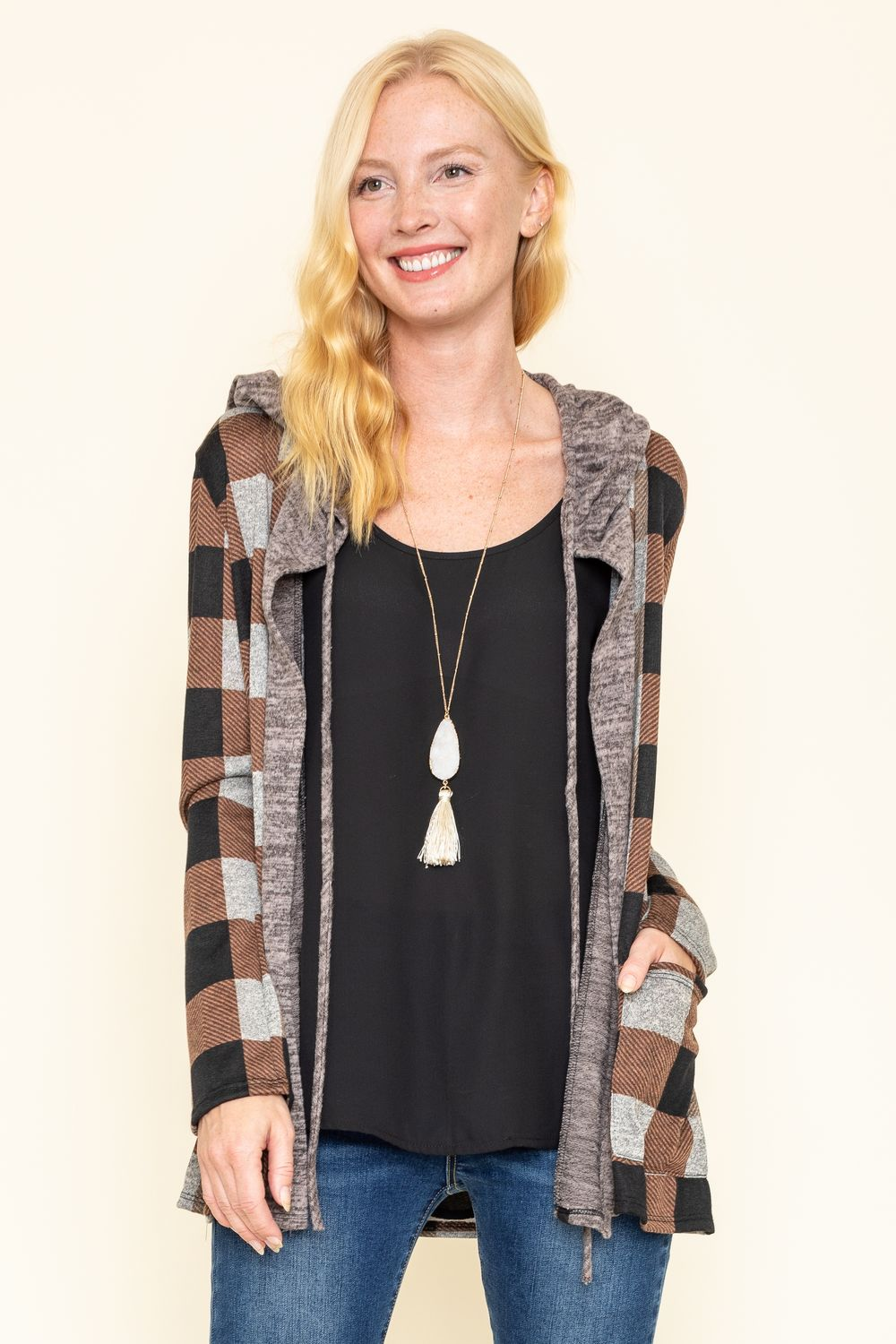 Brown Checkered Hooded Cardigan