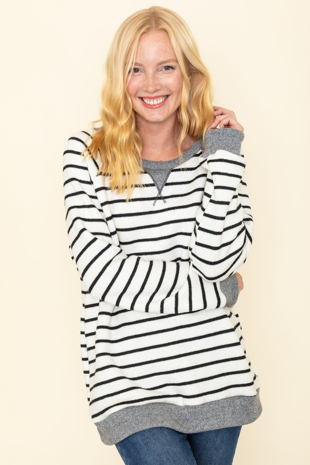 Black Stripe Cozy Knit Top