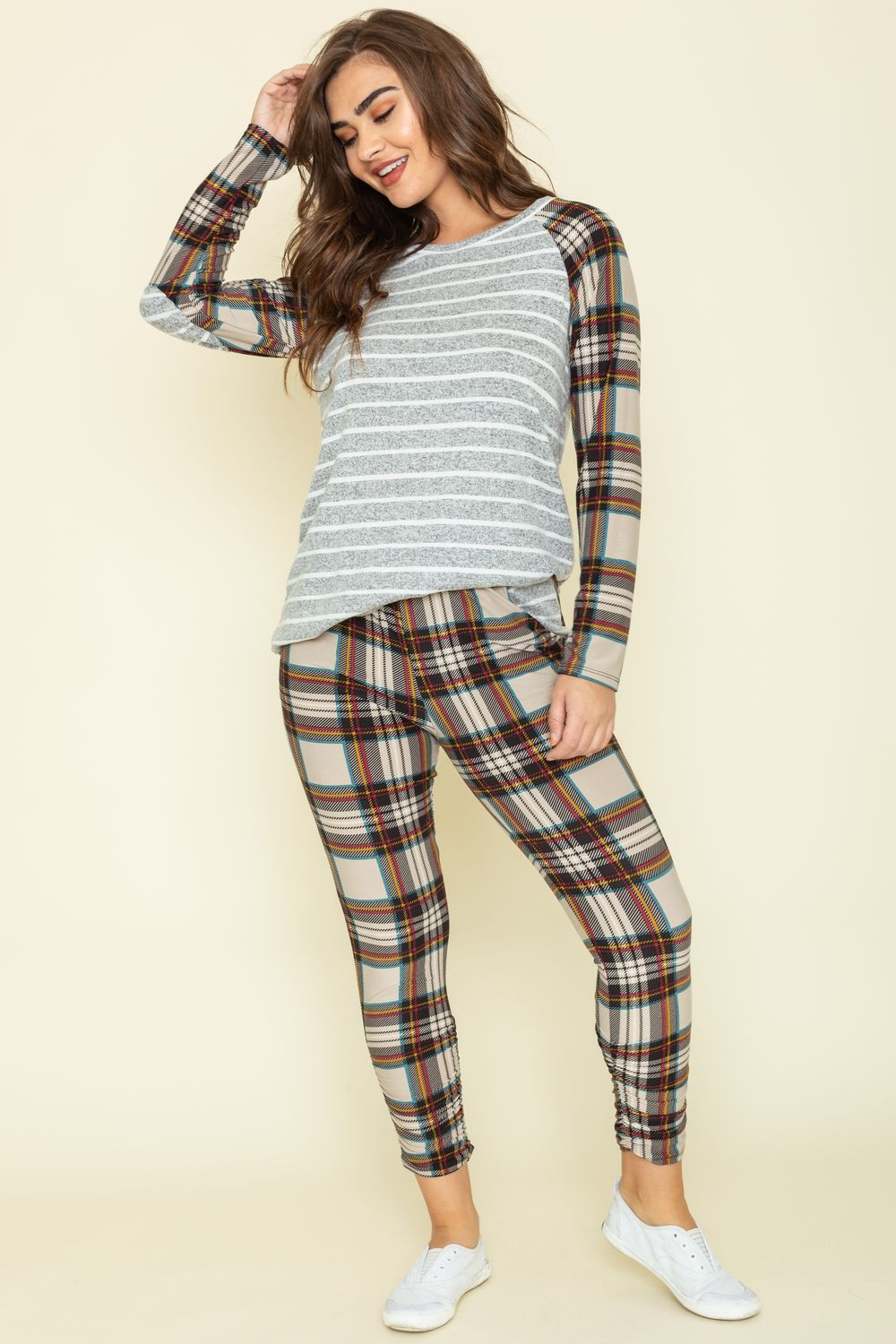 Stripe Cream Plaid Top & Jogger Set_Plus