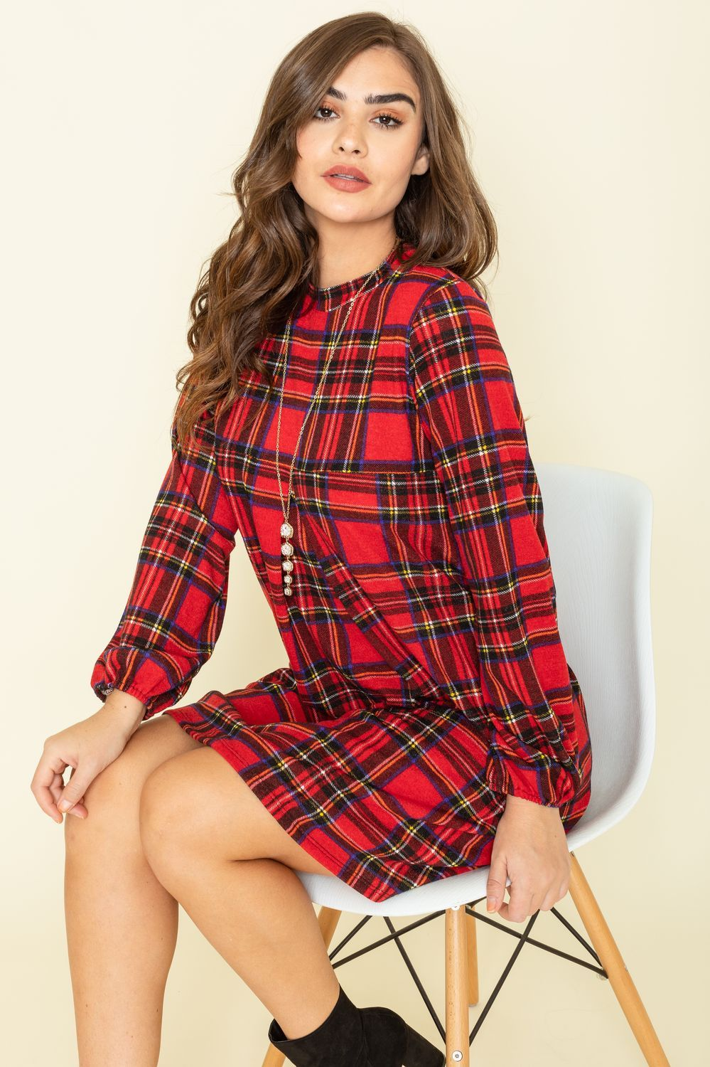 Red Plaid Babydoll Pleated Dress