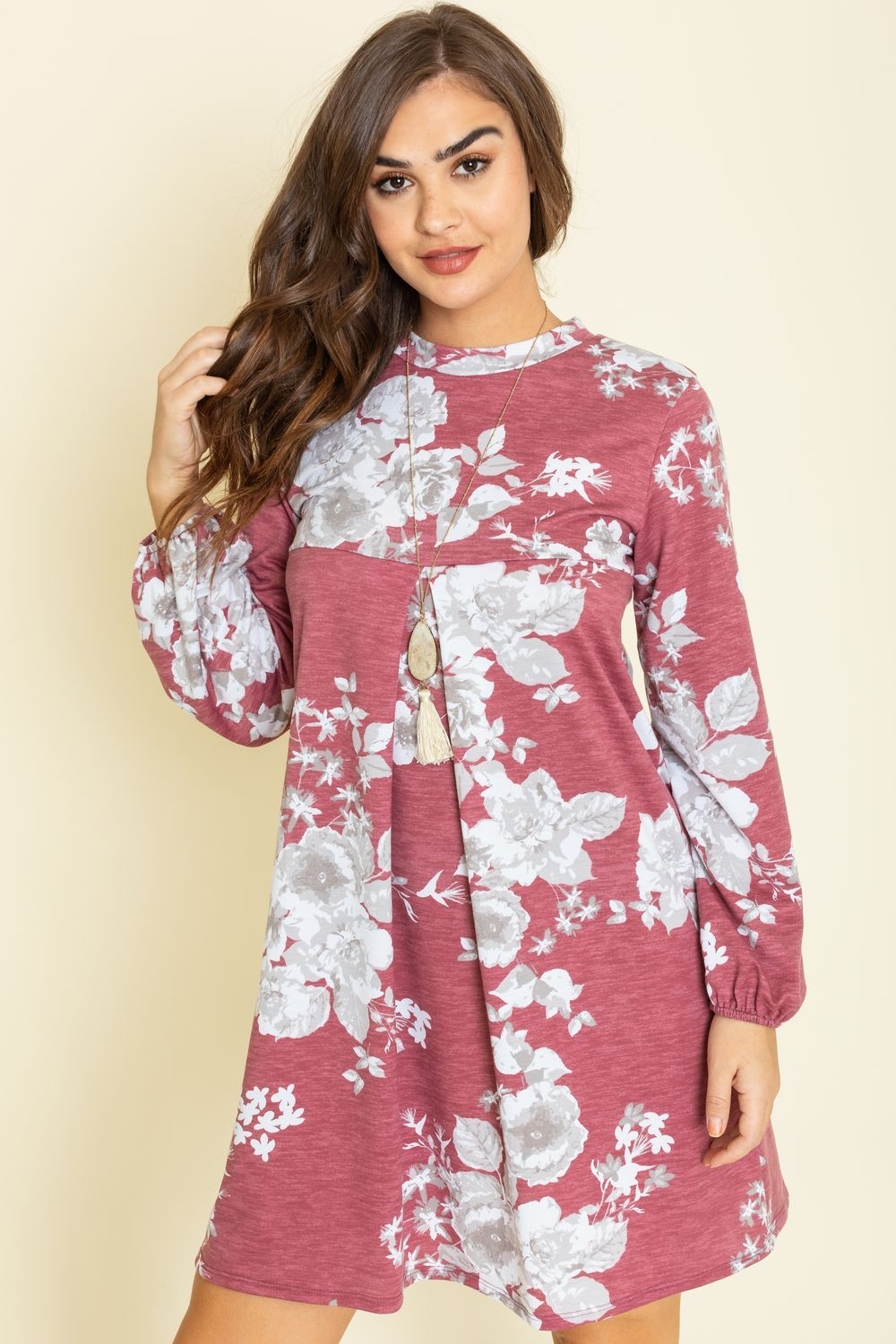 Burgundy Grey Floral Babydoll Pleated Dress_Plus