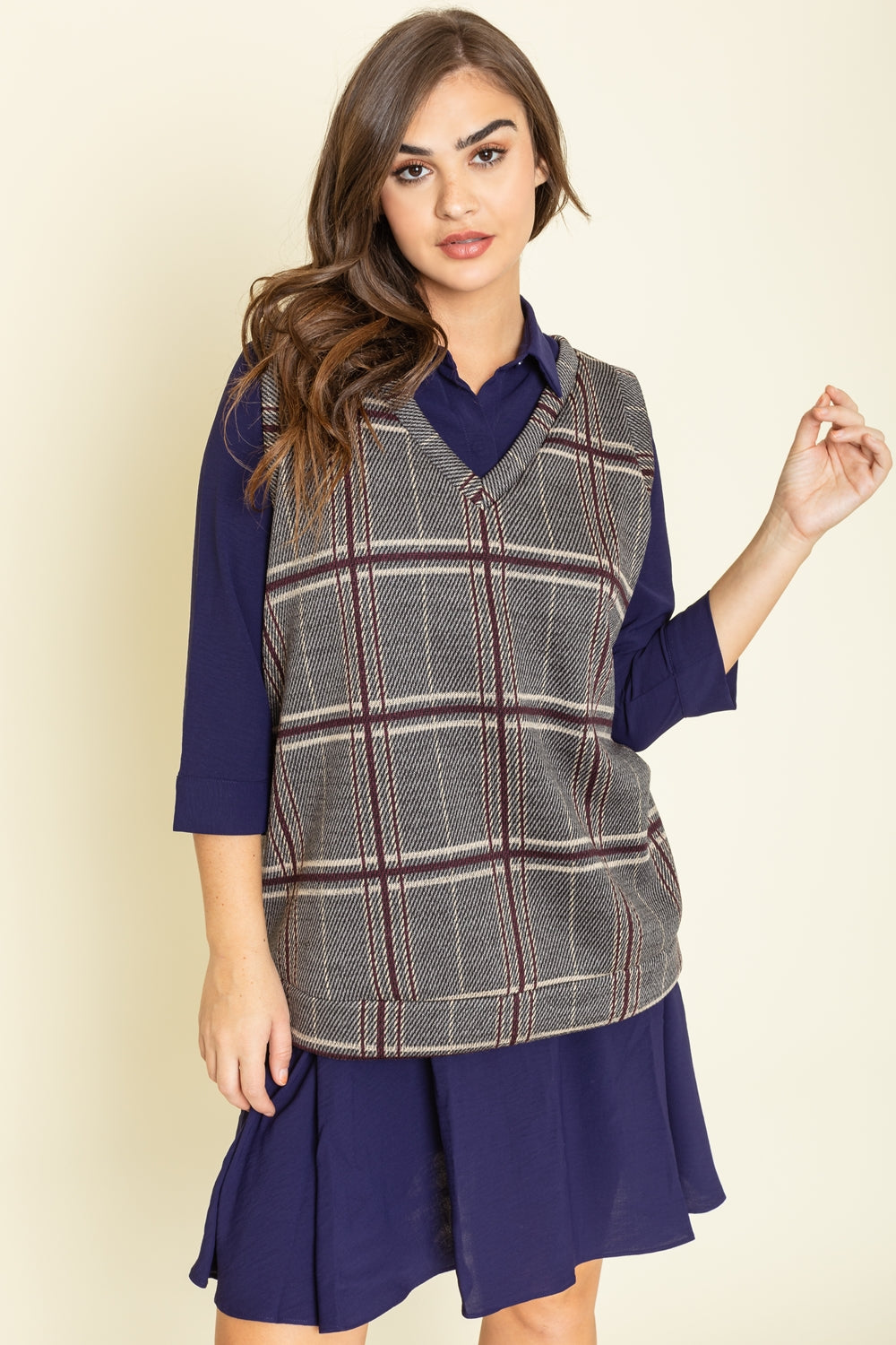 Charcoal Burgundy Plaid V-Neck Vest