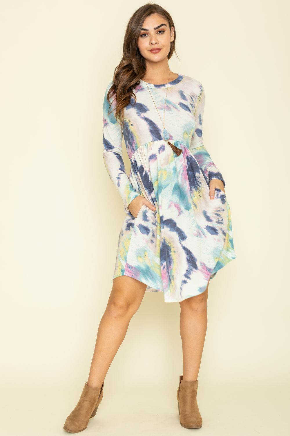 Navy & Green Tie Dye Curved Hem Midi Dress_Plus