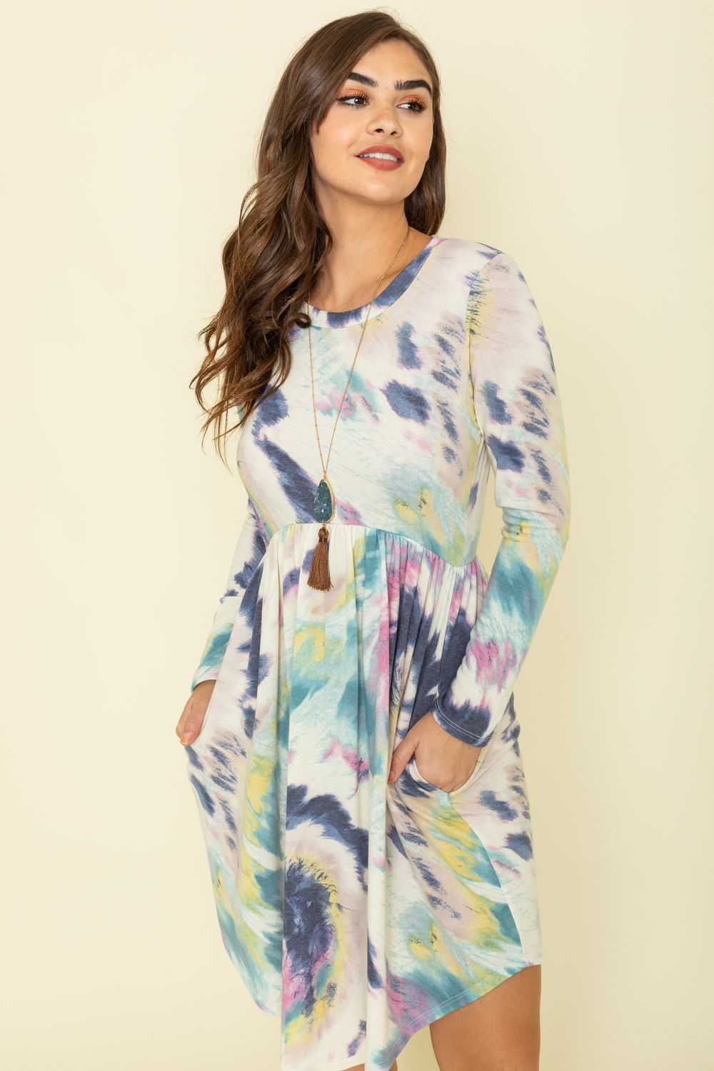 Navy & Green Tie Dye Curved Hem Midi Dress