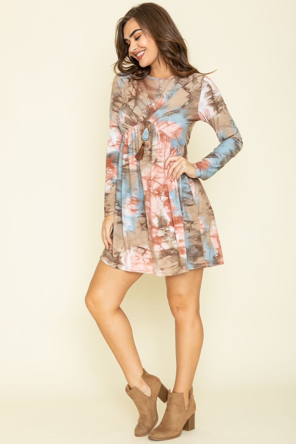 Coral Mocha Marble Tie Dye Cross Front Dress_Plus