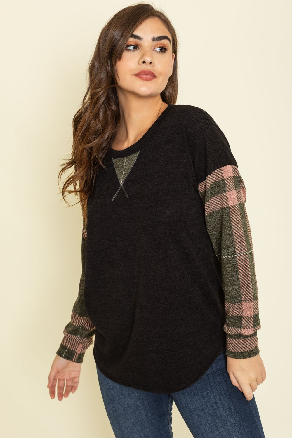 Olive Plaid Sleeve Drop Shoulder Knit Top_Plus