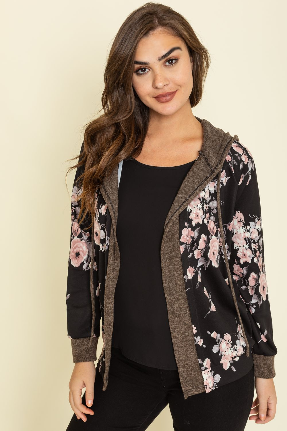 Black Floral Mocha Trim Hooded Cardigan_Plus