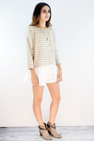 Beige Stripe 3/4 Sleeve Ruffle Bottom Tunic