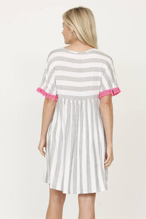 Grey Stripe Empire Waist Mini Dress with Neon Pink Tassel