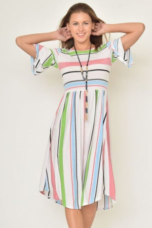 Colorful Stripe Ruffle Sleeve Midi Dress