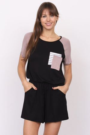 Black & Mocha Raglan Short Sleeve Romper with Double Front Pockets