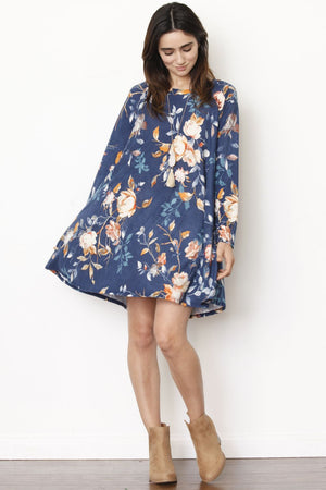 Vintage Navy Floral Long Sleeve A-Line Mini Dress