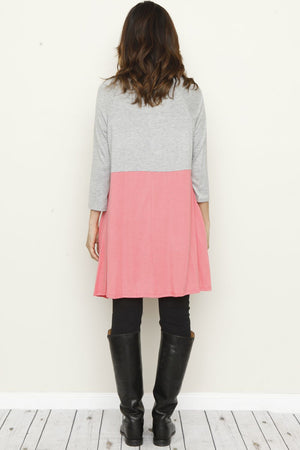 Grey & Coral Color Block A-Line Tunic