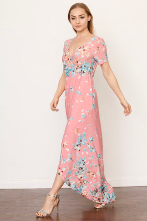 Pink & Mint Floral Surplice Tulip Hem Maxi Dress