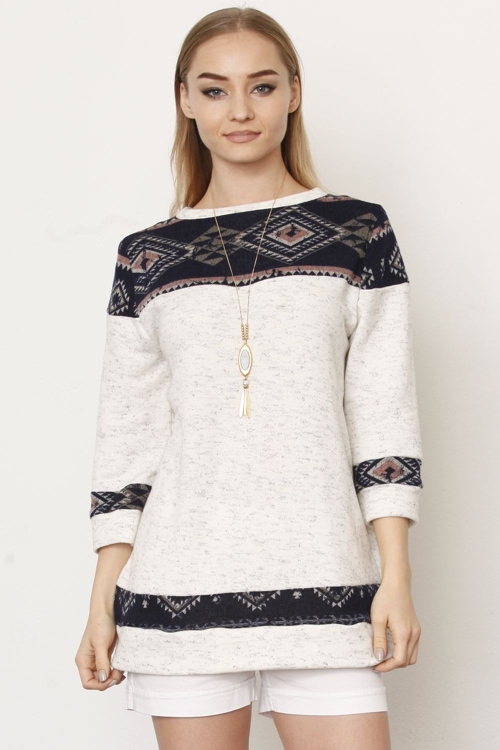 Ivory Terry Navy & Pink Tribal Panel Top