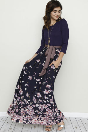 Navy Floral Mocha Sash Dress
