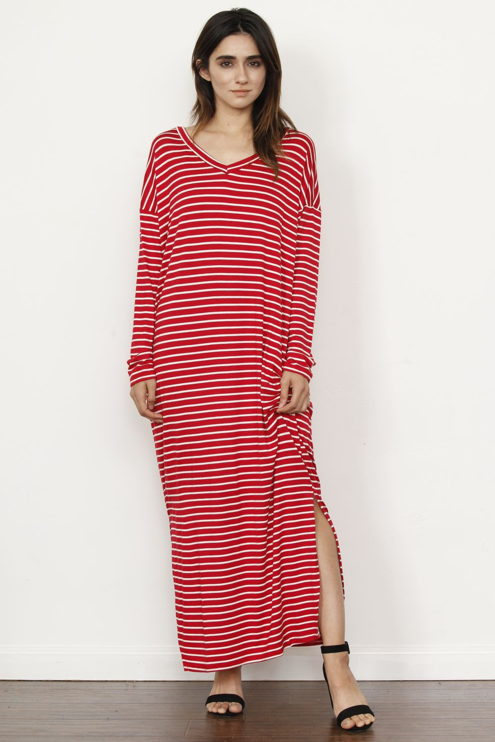Red Stripe Slit Side Maxi Dress