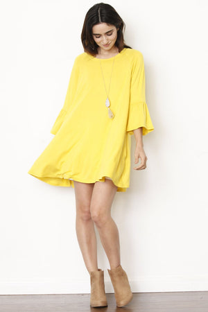 Yellow Ruffle Sleeve Tunic Dress
