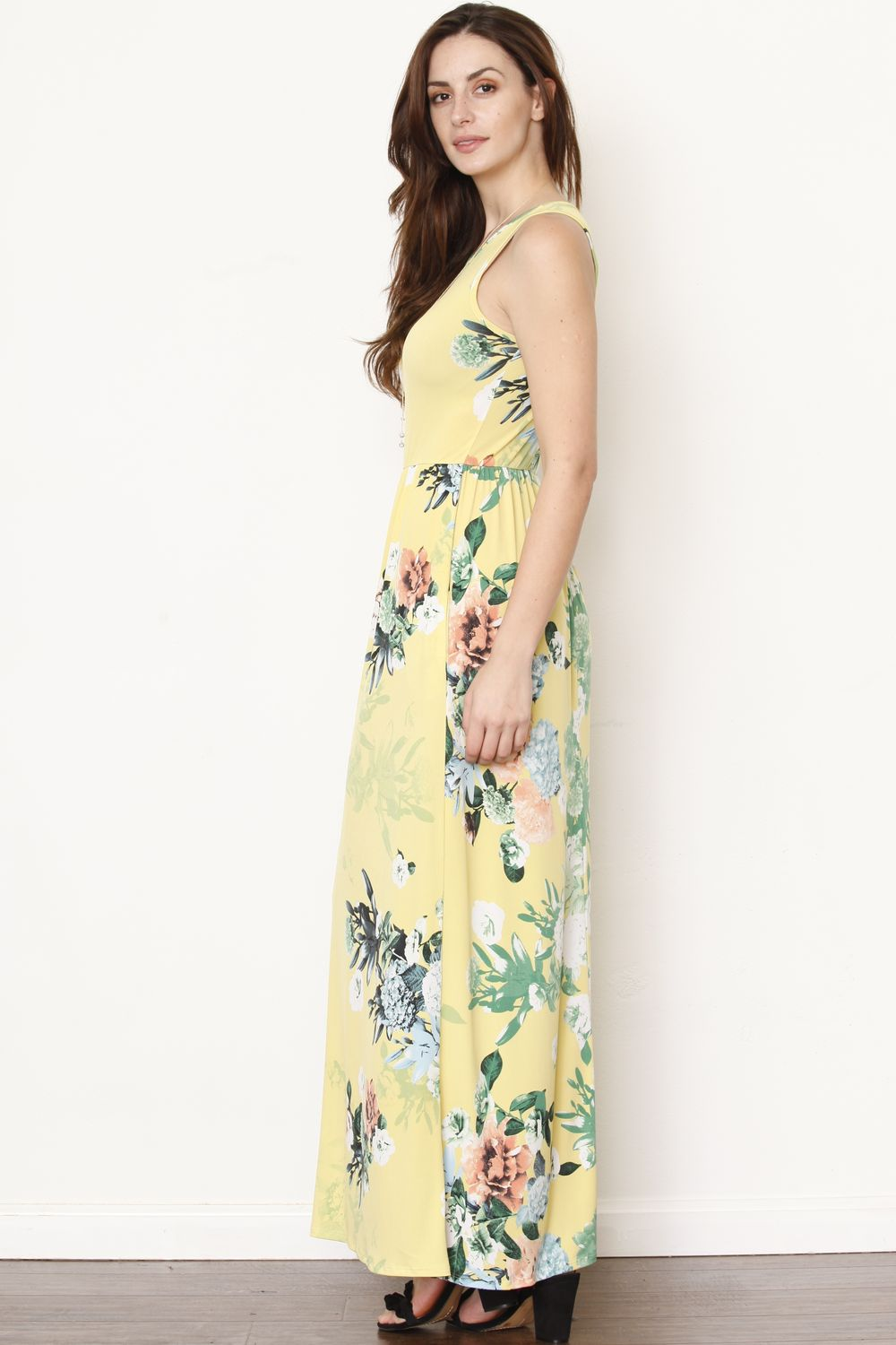 Yellow & Orange Floral Sleeveless Maxi Dress