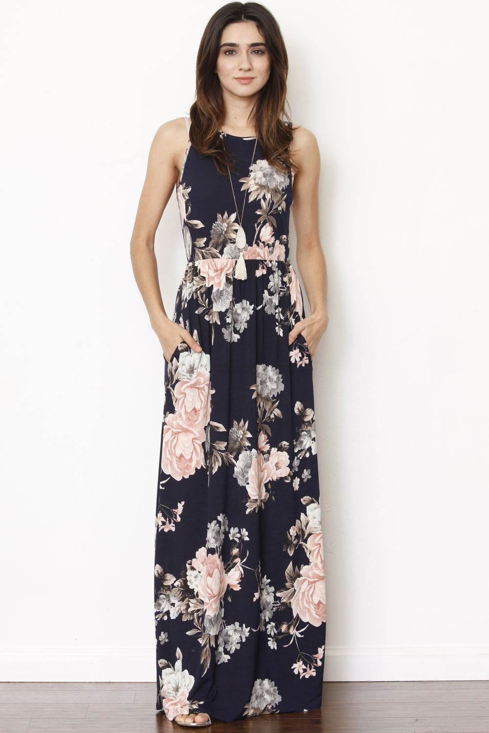 Navy Pastel Pink Floral Sleeveless Maxi Dress_Plus
